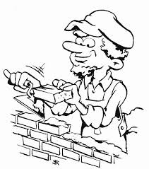 a bricklayer working in community helpers coloring page   netarta bricklayer working in community helpers coloring page