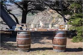 wood barrel furniture. Wine Barrel Tables With Umbrellas Wood Furniture B