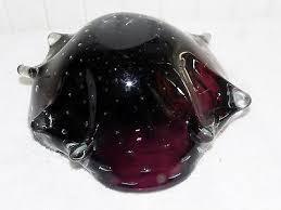 2 of 7 vtg italian murano art glass eggplant purple cased controlled bubbles bullicante