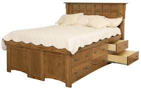 Amish Arts and Crafts Queen Solid Wood Pedestal Bed with 12 Drawers ...
