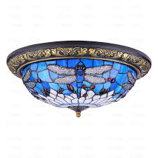 beautiful stained glass shade dragonfly ceiling light