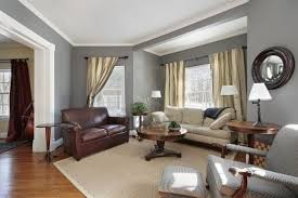 living rooms with gray walls and beige furniture