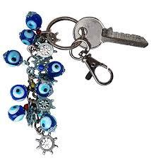 bunch of good luck evil eye beads keychain decorative silver plated greek turkish