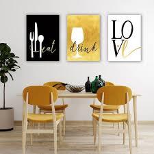 eat drink love modern wall art set