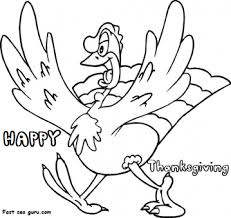 Printable Happy Thanksgiving Turkey Coloring Page Printable
