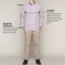 Chest Size Shirt Chart Size Guide To Tarocash Mens Clothing