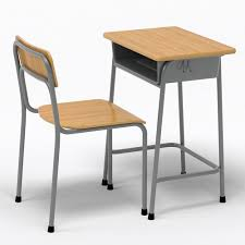 school desk. School Desk And Chair 3D Model E