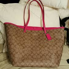 Coach Signature Large Taxi Tote Khaki   Pink Ruby