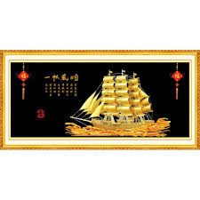 oil painting on canvas chinese style fiber painting smooth sailing zt 715