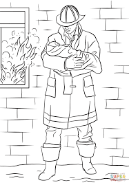 Small Picture Firefighter Saves Baby from Fire coloring page Free Printable