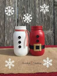 Mason Jar Holiday Decorations Santa Claus and Snowman Mason Jars Holiday Centerpiece Christmas 21