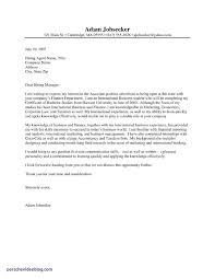 Internship Application Letter Example Of An Internship Cover Lettermple Finance Intern