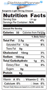 other user submitted calorie info matching sargento light string cheese
