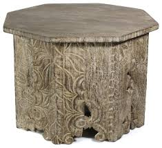 luxe salvaged wood carved tribal coffee table octagon round rustic farmhouse coffee tables by my sy home