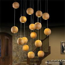 modern led wood chandelier creative wooden ball pendant lamp wood pendant light meteoric shower stair light restaurant chandelier light ceiling lamps