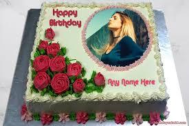 photo frame with rose birthday cake