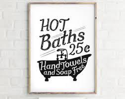 vintage bathroom wall decor. Hot Baths Bathroom Art - Wall Decor Vintage Poster Instant Download