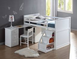 acme wyatt white finish wood twin size loft bed with pull out desk work station underneath and slide out stairs with storage 46213