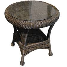 furniture rattan end table wicker cat tables with drawers round storage lamps glass top