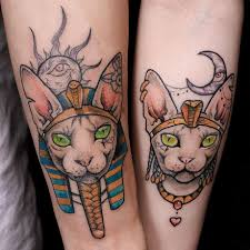 Sphynx Cat Couple Tattoo Pharaoh Cleopatra Anzo Choi 猫 Cat