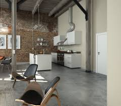 Home Designs: Perserverence Design Cool Palette Open Plan Kitchen Dining  With Brick Wall And Concrete