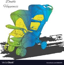 Designer Twin Prams Colorfull Double Twin Stroller