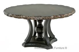 old world table with organic top