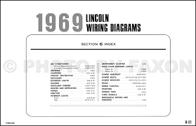 1969 lincoln continental and town car factory wiring diagram original table of contents page