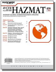 Dot Hazardous Materials Table Ghs Hazmat Supplement Pack Of 10