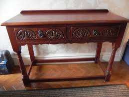 oak hall console table. Old Charm Dark Oak Hall Console Table With 2 Drawers