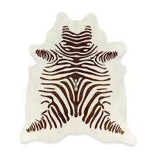 stenciled zebra hair on hide rug 6x7 5 chocolate