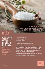 recipe diy rose sweet orange and geranium bath salts made with sea salt baking soda rose petals sweet orange essential oil and geranium rose