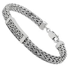 mens irish jewelry heavy sterling silver celtic trinity knot bracelet