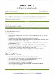 Digital Strategist Resume Digital Marketing Strategist Resume Samples Qwikresume