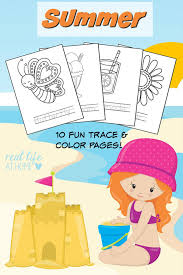 summer coloring pages and word tracing