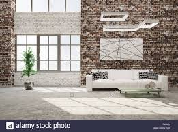 brick living room furniture. Modern Interior Of Living Room With Brick Wall Concrete Floor White Sofa And Window 3d Rendering Furniture E