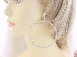 je 195 large rhinestone chandelier single hoop post earrings