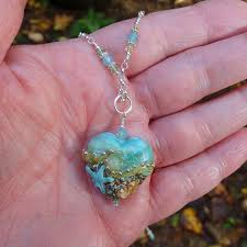 custom made turquoise green lampwork beachy heart pendant necklace with swarovski crystal wire wrap chain