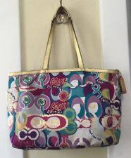 Coach Signature Poppy C Multifunction Tote Diaper Bag F19423 Pink Multi