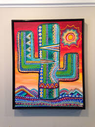 Pin by Myra Watkins on Art I made (Paintings, Woodworking, etc) | Mexican  art, Southwest painting, Cactus painting