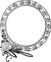 mirror frame drawing. Rounded Mirror Frame With Flower Decorations Vector Drawing