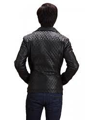 black studded double rider men s leather jacket