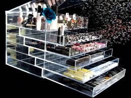 kim and kourtney kardashian clear makeup drawers