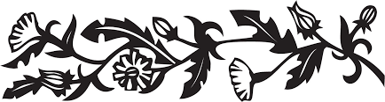 花のイラストフリー素材フレーム枠no252白黒切り絵風