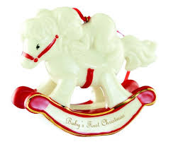 belleek baby s first rocking horse ornament