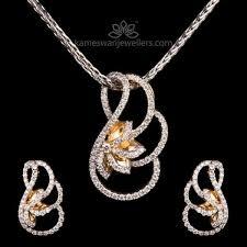 curved beauty diamond pendant set