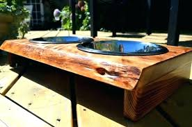 wooden elevated dog bowls pet feeder with storage raised