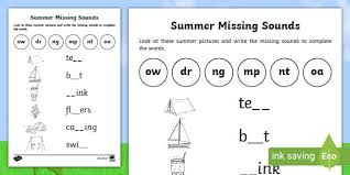 These free phonics worksheets may be used independently and without any obligation to make a purchase, though they work well with the excellent phonics dvd and phonics audio cd programs developed by rock 'n learn. Summer Missing Sounds Phonics Worksheet Teacher Made