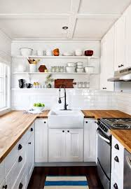 Exellent White Country Kitchen With Butcher Block Cabinets S To Beautiful Ideas