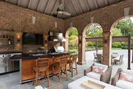 pool house interior. The Pool Pavilion Dining Area Is Serviced By A Professional Grill And Gas Oven #PoolHouse House Interior